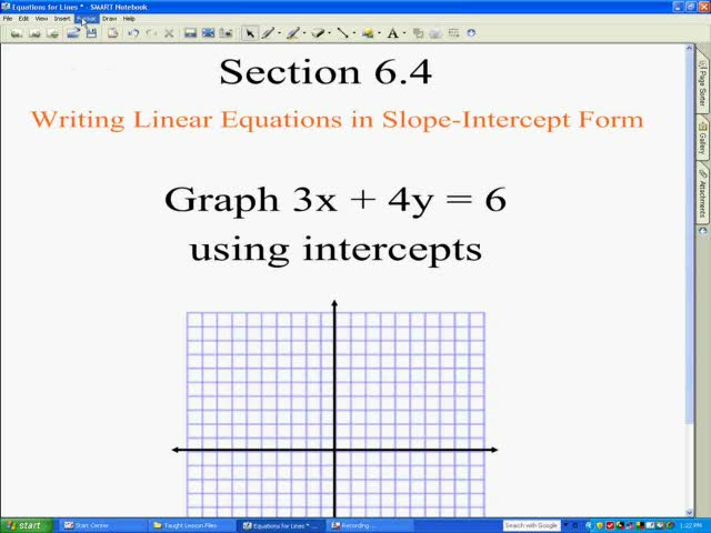 Graphing Linear Equations In Y Mx B Slope Intercept Form Help