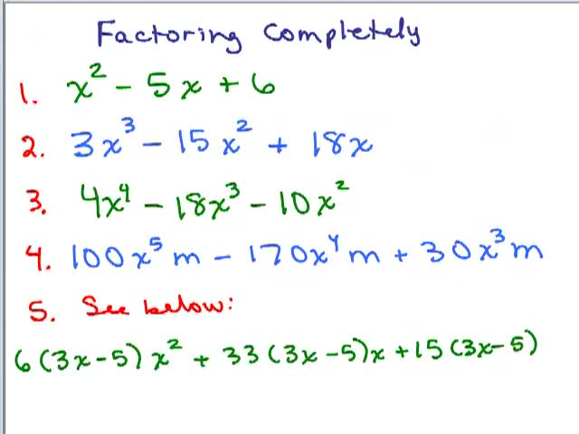 Multiplying and Factoring Polynomials Help Video in High School – Algebra 2 Factoring Polynomials Worksheet