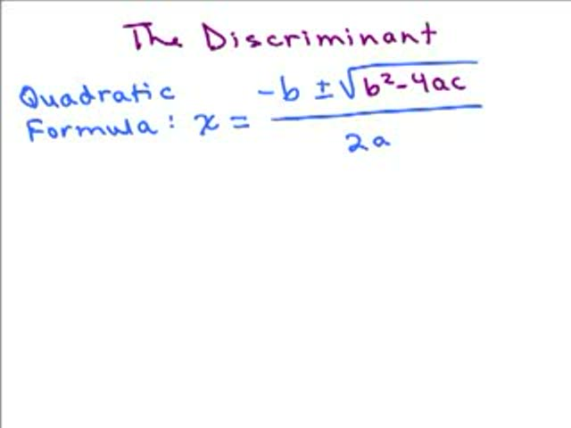 Discriminant in Quadratic Formula Help Video in High School Math – The Quadratic Formula and the Discriminant Worksheet