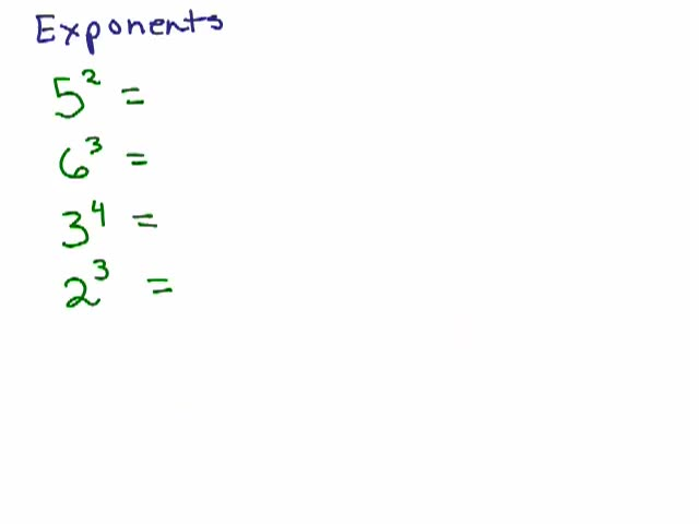 Exponents Part 2 Exponents and Evaluating Expressions Help Video – Evaluating Exponents Worksheet