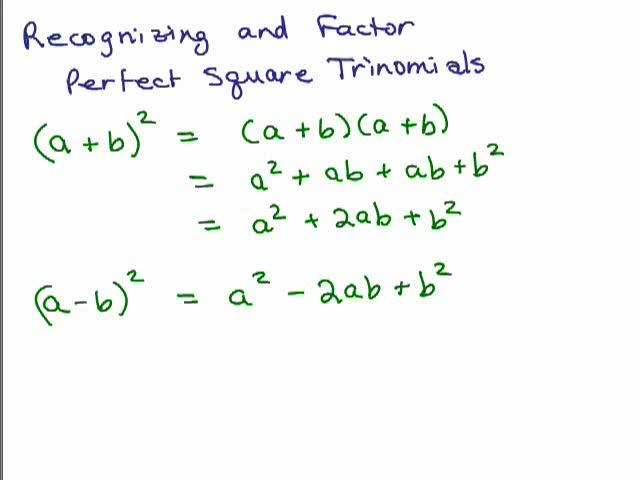 factoring perfect square trinomials examples and answers factoring perfect squares help video. Black Bedroom Furniture Sets. Home Design Ideas