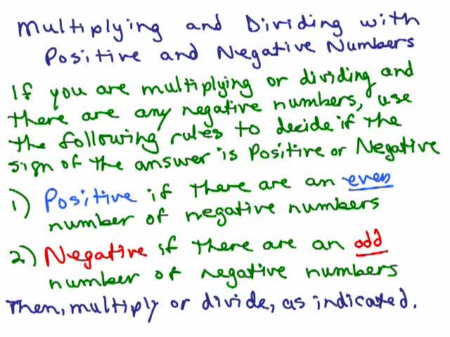 Multiplying Dividing Positive Negative Numbers Help Video In