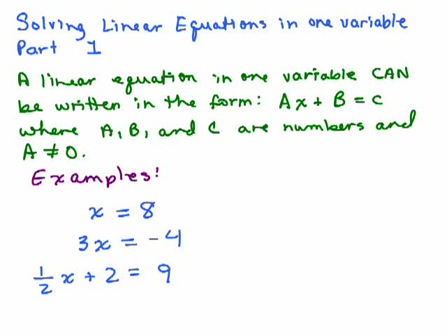 Solving Linear Equations Part 1 Help Video In High School Math