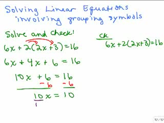 Solving Linear Equations Part 10 preview image