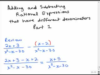 Adding rational expressions with different denominators 1 preview image