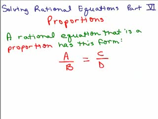 Solving Rational Equations 6 - Proportions 1 preview image