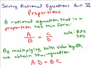 Solving Rational Equations 7 - Proportions 2 preview image