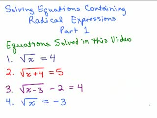 Solving Radical Equations 1 preview image