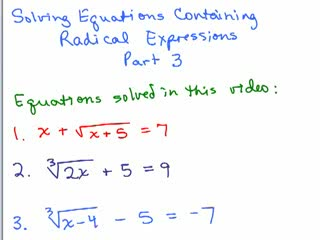 Solving Radical Equations 3 preview image