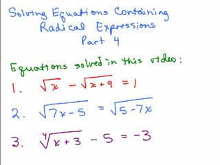 Solving Radical Equations 4 preview image