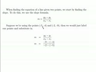 Finding the equation of a line given 2 points preview image