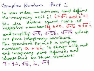 Introduction to Complex Numbers videos
