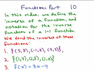 Functions 10 - Inverse of a Function preview image