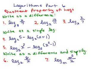 Logarithms 6 - Quotient Property of Logs preview image