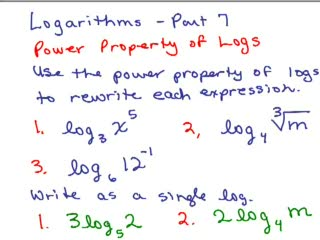 Logarithms 7 - Power Property of Logs preview image