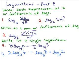 Logarithms 8 - Properties of Logs preview image