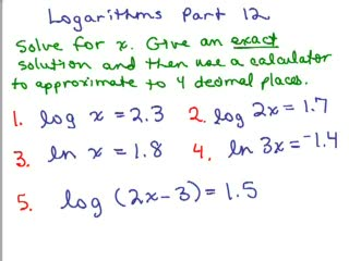 Logarithms 12 - Solve equations with log x and ln x preview image