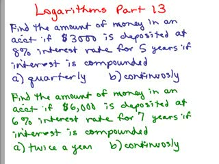 Logarithms 13 - Compound Interest preview image