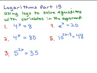 Logarithms 15 - Solving Equations preview image