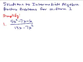 Intermediate Algebra Review Part 1 preview image