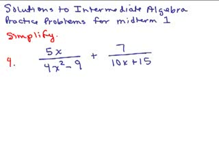 Intermediate Algebra Review Part 2 preview image
