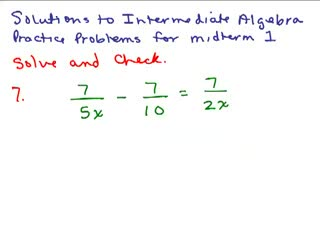 Intermediate Algebra Review Part 3 preview image