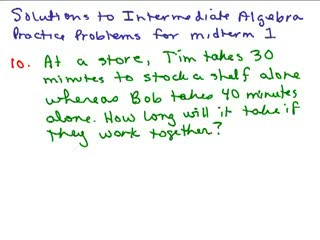 Intermediate Algebra Review Part 5 preview image