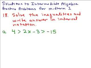 Intermediate Algebra Review Part 9 preview image