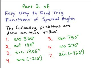 Trig functions special angles 2 preview image