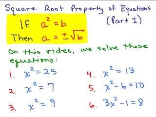Square Root Property of Equations Series of Videos - Math Help and ...