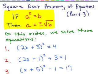 Square Root Property of Equations 3 preview image