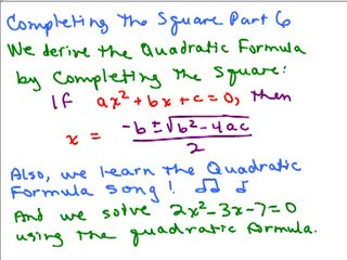 Completing the Square and Quadratic Formula 1 preview image