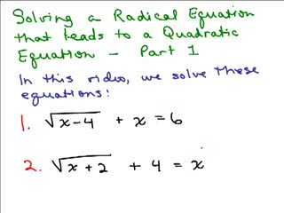 Solving Radical Equations videos