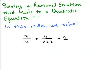 Solving Rational Equation to Quadratic 1 preview image
