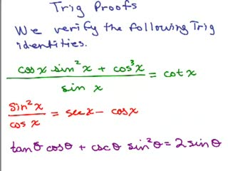 Trig Proofs videos