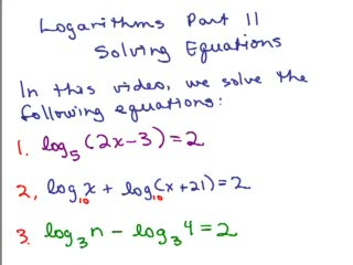 Logarithms 16 - Solving Equations preview image