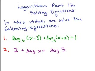 Logarithms 17 - Solving Equations preview image