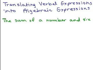 Translating words into algebraic expressions preview image