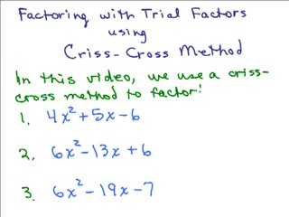 Factor using Crisscross Part 1 preview image