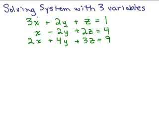 System of Equations with 3 variables - Part 1 preview image