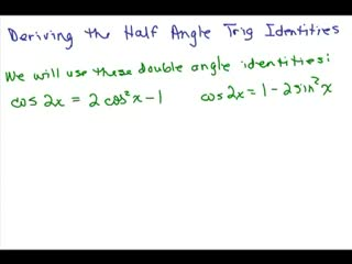 Derive Trig Half Angle Identities preview image
