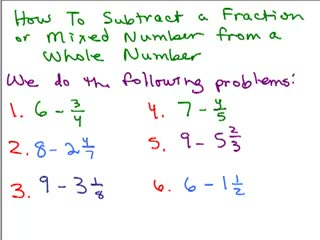 Subtract Fraction from a Whole Number preview image