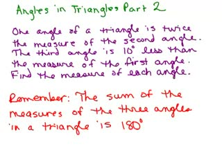 Triangle Angle Word Problem 2 preview image