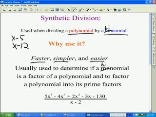 Polynomial Synthetic Division videos
