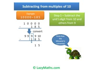 Ex 1 - Subtracting from multiples of 10 preview image