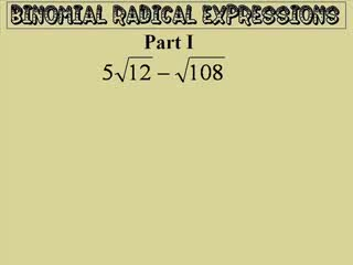 Radical Expressions - Square Roots preview image
