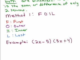 Multiplying 2 binomials using the Foil or Smiley Face Method preview image