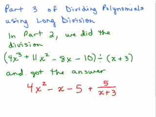 Divide Polynomials using long division - Part 3 preview image