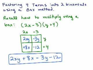 Factoring 4b-Use Box to factor 4 terms preview image