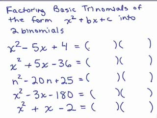 Factoring Basic Trinomials videos